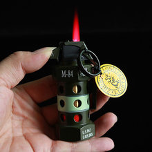 New Style Personality Grinding Wheel Inflatable Lighter Flame Anti-Tank Grenade Modeling Smoking and Keychain Military Pendant