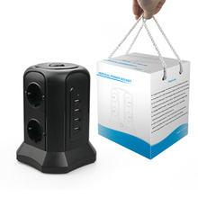 TESSAN EU Multi Vertikale Buchse Turm Power Streifen mit 4 USB Lade Ports 6 AC Outlets und 2M/6,5 FT Extention Schnur für Büro