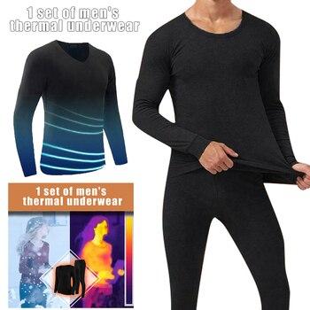 2019 Fashion Winter Women Men Seamless Elastic Suit Thermals Inner Wear Solid Color Warm Slim Underwear Pants Suits 1