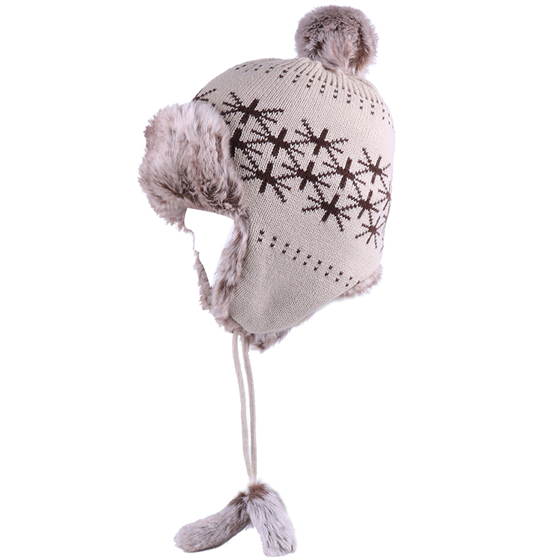 MJ-Young Winter Women Knit Shine Hat Pom Poms Hats Female Elegant Wool Knitted Womens Skull Beanies