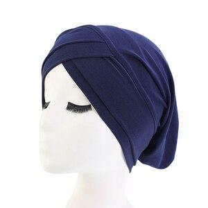 Image 4 - Хиджаб для мусульманманок, шарф, внутренняя шапка, Женский тюрбан, тюрбан, головной платок, растягивающийся, мешковатая шапка для выпадения волос