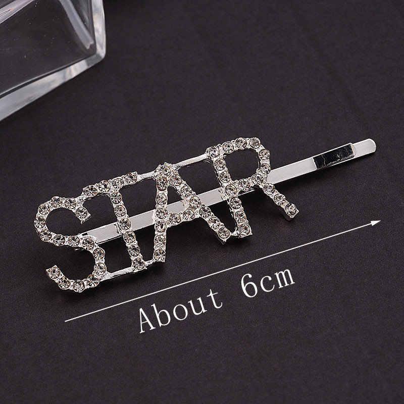 M MISM 1pc Shining Crystal Rhinestone Hair Clips For Women/Girls Letters Hairpins Barrettes Korean Design Hair Accessories