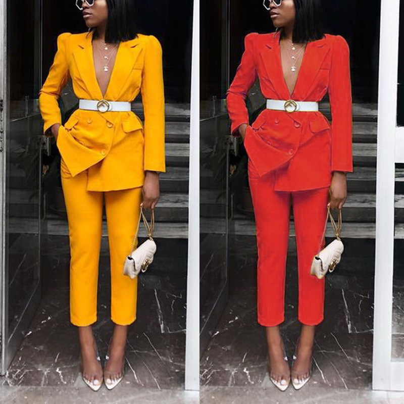 2019 Autumn And Winter New Products Hot Selling Solid Color Suit Slim Fit Two-Piece Set WOMEN'S Dress Zl1218