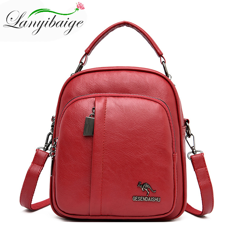 Multifunction Leather Backpacks Women High quality schoolbag Female Travel Backpack rucksack For Teenage Girl mochila feminina