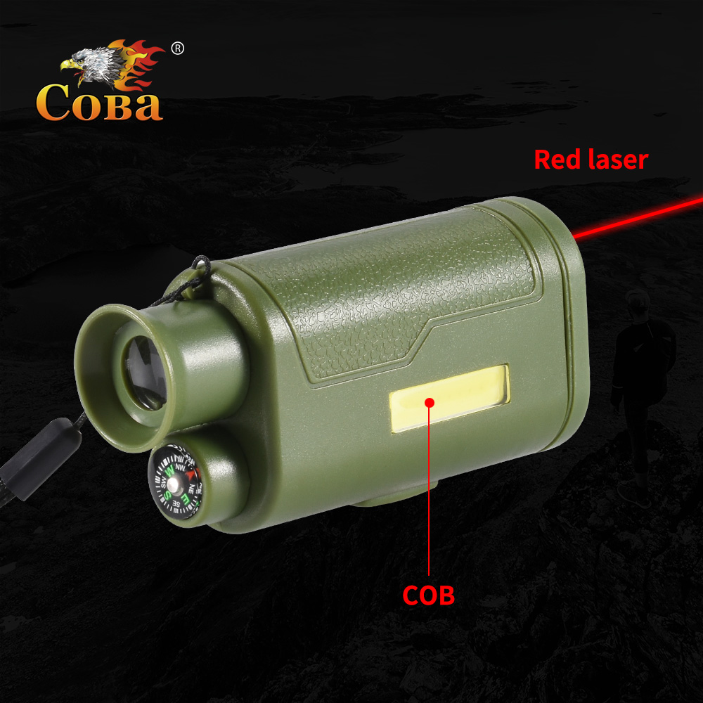 Led Hunting Cob Key Chain Light Portable Telescope Lamp Infrared Plastic Compass Waterproof 2 Modes 200LM Mini Emergency Light