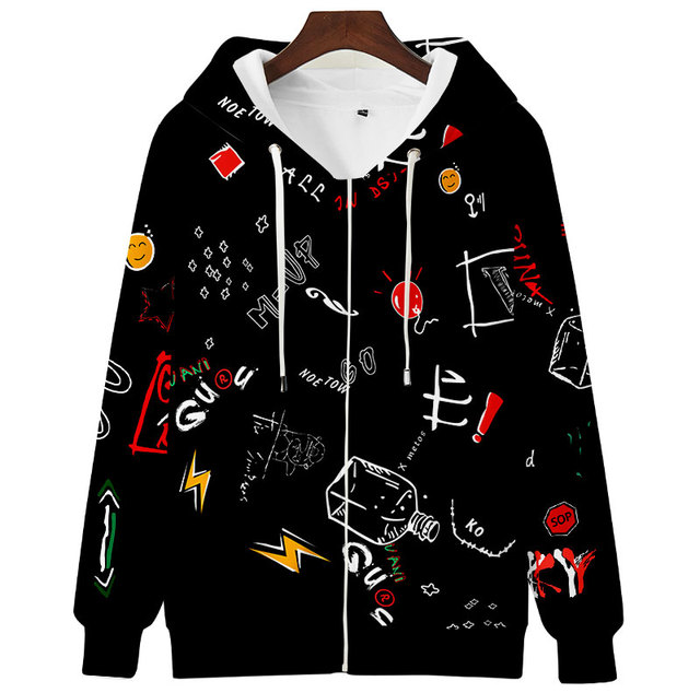 Teens Men Women Cute Hoodie Sweatshirt 3D Casual Zipper Anime Hoodies Pollover Yellow Harajuku Streetwear Spring Autumn 4