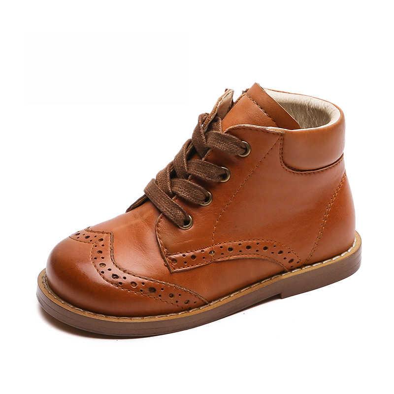 Dolakids High-end kinderen schoenen kinderen laarzen Europese en Amerikaanse vintage jongen en meisje laarzen lederen schoenen