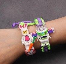Juguete historia 4 Woody Buzz Lightyear pulsera vengadores final de hierro hombre Siderman pulsera bloques de construcción Actiefiguren Kinderen regalo