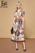 Baogarret 2019 Summer Dress Women's V Neck Sexy Elegant Striped Floral Print Pleated Vintage Belted Wrap Dress vestidos недорого