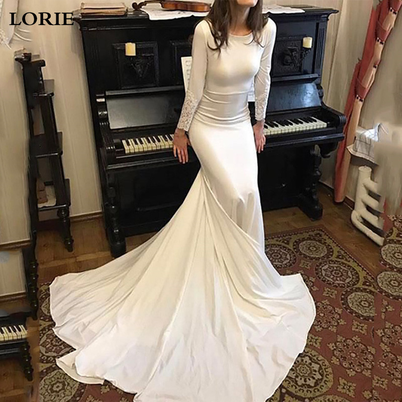 LORIE Mermaid Wedding Dress Long Sleeve Dubai Wedding Bride Dress Soft Satin Wedding Gowns Vestido De Voiva