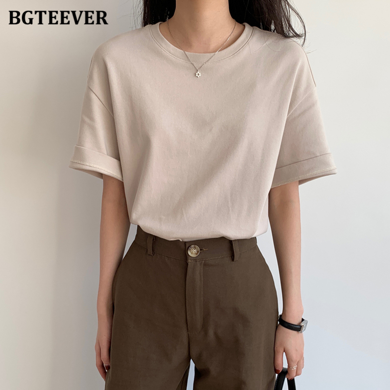 BGTEEVER Летние повседневные Простые Женские футболки с круглым вырезом, свободные женские футболки с коротким рукавом 2020, пуловеры, топы 6 видо...