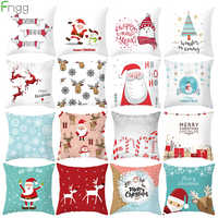 Santa Claus cojín de cubierta feliz adornos navideños para el hogar Navidad 2019 adornos de Navidad regalos de Navidad Año Nuevo 2020