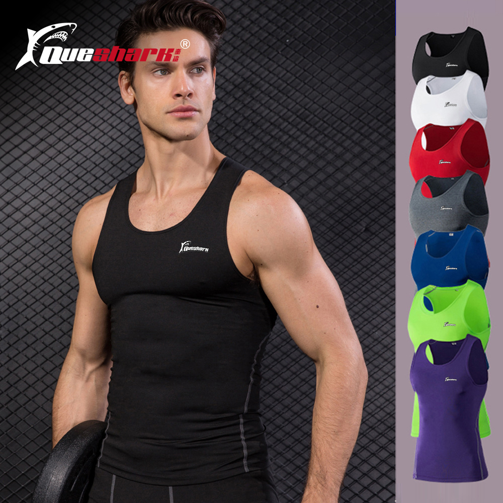 QUESHARK Men Compression Running Vest Summer Workout Training Tight Tank Tops Quick Dry Solid Color Sleeveless Fitness Shirts