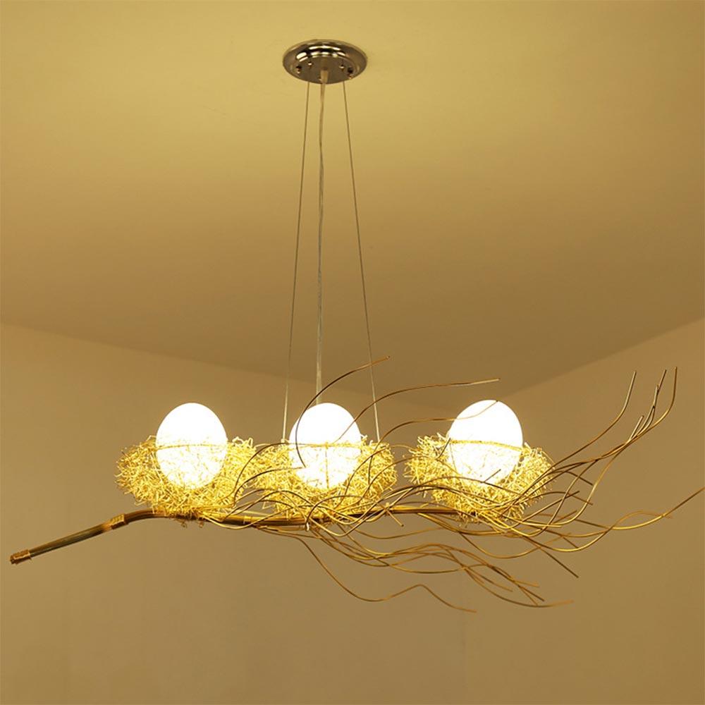 Led Птичье гнездо, Современная Золотая Потолочная люстра, винтажная Восточная промышленная Скандинавская Люстра для гостиной, подвесные