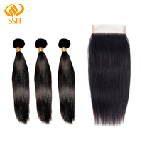 SSH Brazilian Remy Hair Straight Weave Human Hair Bundles With Closure Hair Extension