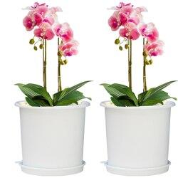 2 sztuk 19X19X17 cm siateczkowa doniczka wentylacji doniczka korzeń kontroli pojemnik sadzarka z tacą biała kawa w Doniczki i skrzynki do kwiatów od Dom i ogród na