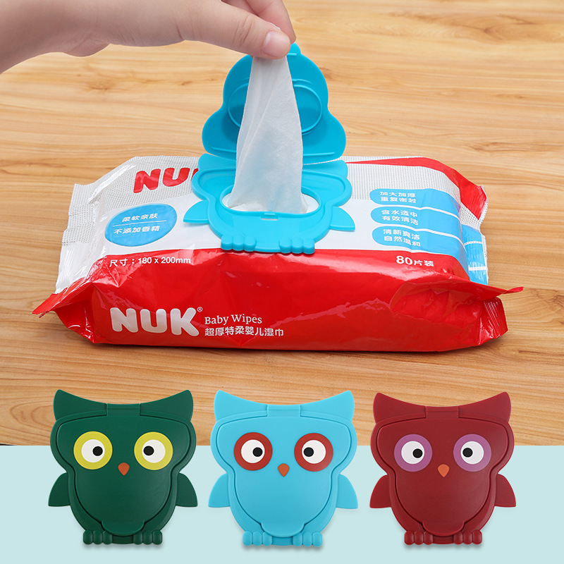 Baby Care Newborn Cartoon Animals Owl Outdoor Wet Wipes Cover Children Portable Clamshell Styles Reusable Wet Tissues Wipes Lid