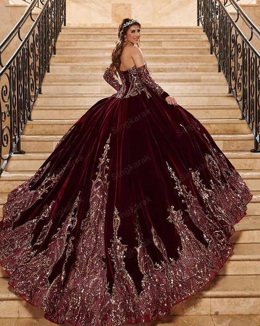 Burgendy 2021 Ball Gown Quinceanera Dresses Bridal Gowns Sweetheart Long Sleeve Sweet 16 Dress vestidos de xv años anos