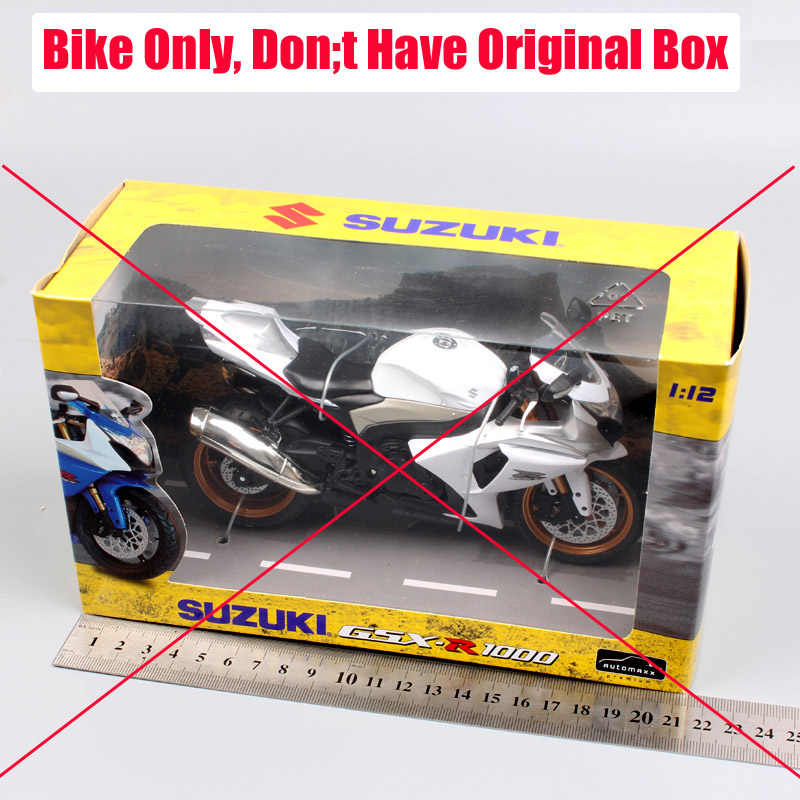 Merek 1/12 Mini Skala Automaxx Suzuki GSX R1000 Diecast Moto Logam Moto Bersepeda Sport Bike Racing Model Hadiah untuk Anak Laki-laki mainan Putih