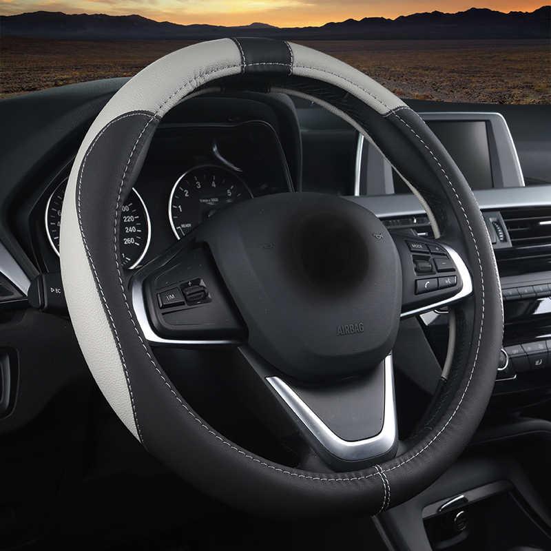 WLMWL deri araba direksiyon kılıfı Audi için tüm modeller a3 8v a4 b6 b9 b8 c7 q5 a5 a6 c6 q7 q3 direksiyon kılıfı