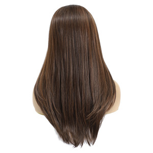 Image 5 - ロングストレート合成レースフロントかつら黒人女性のためのX TRESSミディアムブラウン色の耐熱性繊維のかつら髪