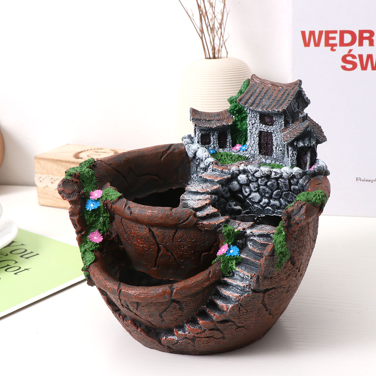 Succulent Flower Pot Holder Bucket for Landscape Ornament Fairy House