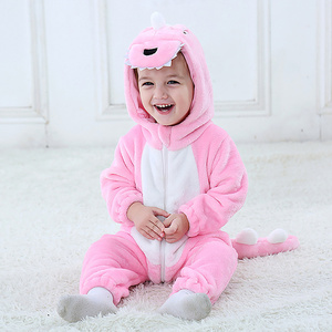 Image 4 - Baby Animal Flannel Romper Boy Girl Panda Rabbit Tiger Hooded Playsuit Toddle Dinosaur Cosplay Outfits Unisex Christmas Costume