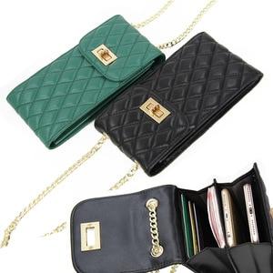 Image 1 - Echtes Leder Mode Designer Telefon Geldbörse Mini Schulter Tasche Qualität Schaffell Kleine Klappe Taschen Frauen Umhängetasche Messenger Taschen