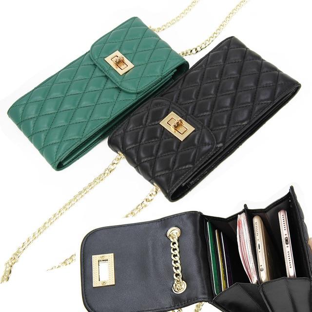 Echtes Leder Mode Designer Telefon Geldbörse Mini Schulter Tasche Qualität Schaffell Kleine Klappe Taschen Frauen Umhängetasche Messenger Taschen