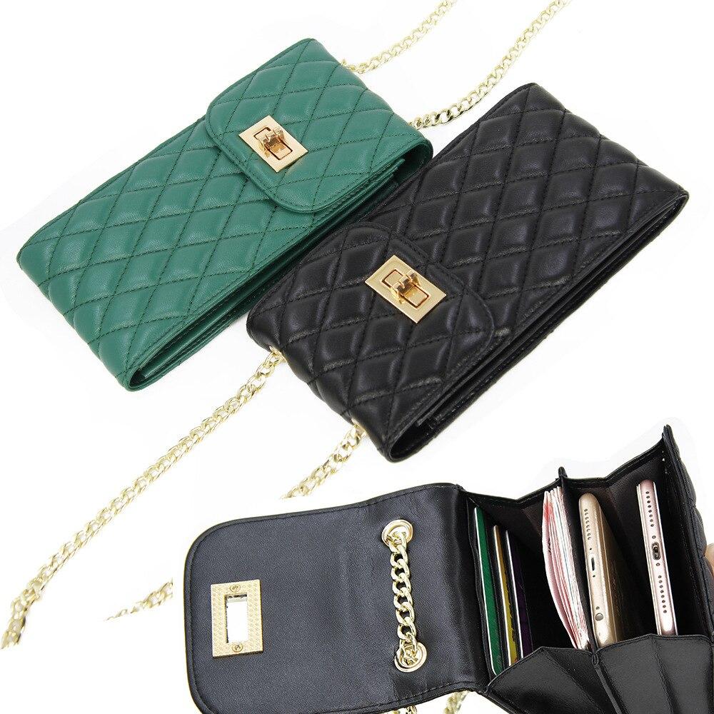 Genuine Leather Fashion Designer Phone Purse Mini Shoulder Bag Quality Sheepskin Small Flap Bags Women Crossbody Messenger Bags