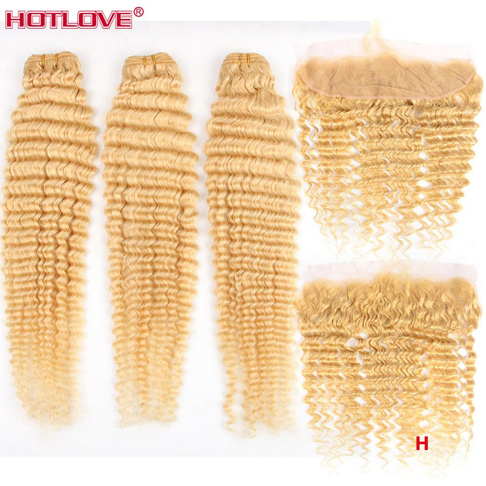 Brazilian 613 Blonde Deep Wave Bundles With Frontal Closure Remy High Ratio 8- 28 Human Hair Weave Bundles With Lace Frontal image
