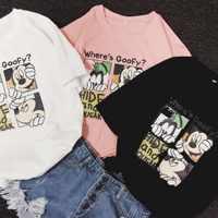 2020 women summer shirt black white pink round neck short sleeve shirts cartoon mickey goofy tshirt women men couple shirts
