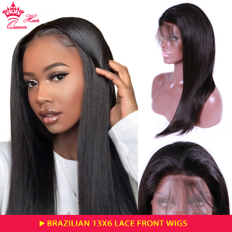 Queen Hair Products 13x6 straight lace front wig Brazilian BIG Lace Frontal Wigs 100 Human Hair