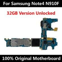 Carte mère de téléphone officielle dorigine pour Samsung Note 4 N910F 32GB débloqué avec puces IMEI OS carte mère entière utilisation dans le monde entier