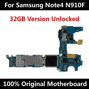 Image 1 - Originele Officiële Telefoon Moederbord Voor Samsung Note 4 N910F 32Gb Unlocked Met Chips Imei Os Hele Moederbord Wereldwijd Gebruik