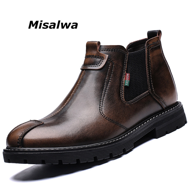 Misalwa New Dropshipping Mens Snow Boots Winter Shoes Fully Fur Autumn Wear Resistant Working Slip On Ankle Leather Botas hombre