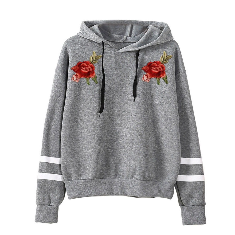 2017 Hot Selling European And American-Style Hot Selling Hooded Long-Sleeve Casual Loose-Fit Rose Embroidered Hoodie