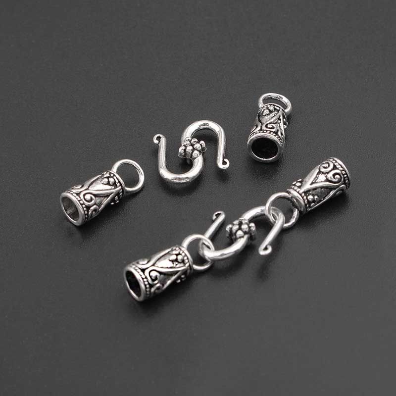 10Sets Antique Silver Fold Over Snap Clasp End Cap Beads Fasteners For 4mm Round Leather Cord Bracelet Connectors Jewelry Making