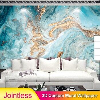 Papel pintado 3D personalizado sin juntas, pintura abstracta de paisaje de tinta moderna con textura de mármol azul y dorado, arte de sala de estar, decoración del hogar