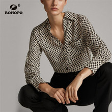 ROHOPO BLACK Houndstooth Long Sleeve High Low Blouse Side Pocket Lantern Sleeve Ladies Chic Plaid Top Lapel collar Shirt #9014 embroidered high low slit side blouse