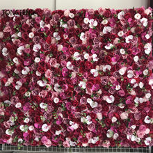 TONGFENG PINK 8pcs/Lot Fleurs Artificielles Silk Rose Peony 3D Flower Wall Panel Runner Party Wedding Backdrop Decoration