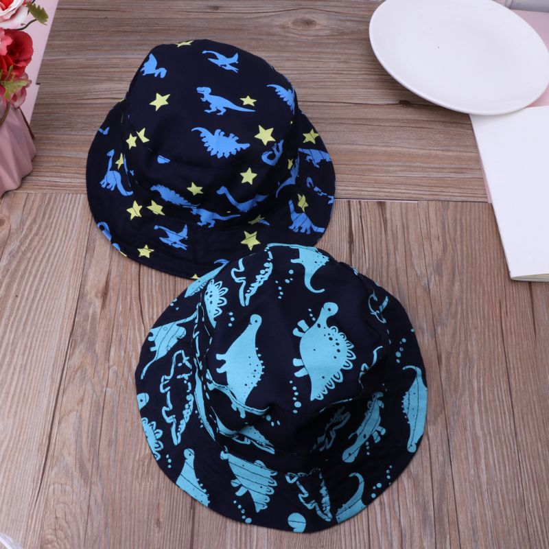 Cartoon Dinosaur Baby Kid/'s Bucket Hat Cotton Summer Beach Sun Cap With Strap