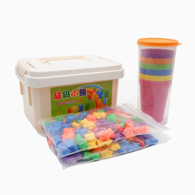 Ours Poids D'apprentissage Maternelle Jouet Montessori Enseignement Sida Apprennent Comptage Poids Ours Six Couleurs En Boîte