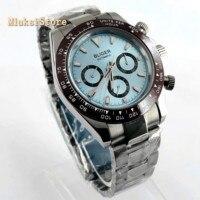 Bliger 39mm top mens relógio do esporte mecânico prata caso mostrador azul painel de cerâmica de vidro de safira relógios automáticos