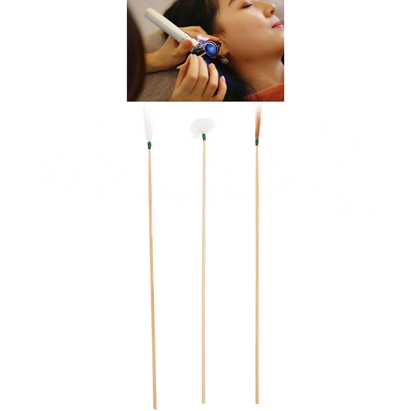 10Pcs Bamboo Feather Earpick Wax Remover Curette Cleaner Stick Ear Dig Spoon