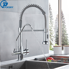 FILTERED Crane Kitchen-Faucet Three-Ways Sink-Mixer Tap Pull 360-Rotation Chrome Poiqihy
