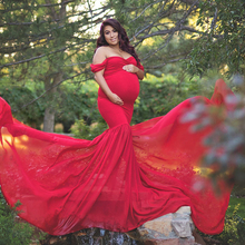 Maternity photography props Pregnancy Cloth Cotton+Chiffon Maternity Off Shoulder Half Circle Gown shooting photo pregnant dress