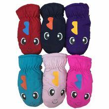 Теплые зимние перчатки с толстой подкладкой для малышей и детей постарше с принтом динозавра из мультфильма, водонепроницаемые ветрозащитные эластичные рукавицы с манжетами, От 3 до 5 лет, DXAA