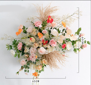 Image 5 - Custom Wedding arch decor flower arrangement table flower ball centerpieces  floral party stage outdoor scene layout flower wall