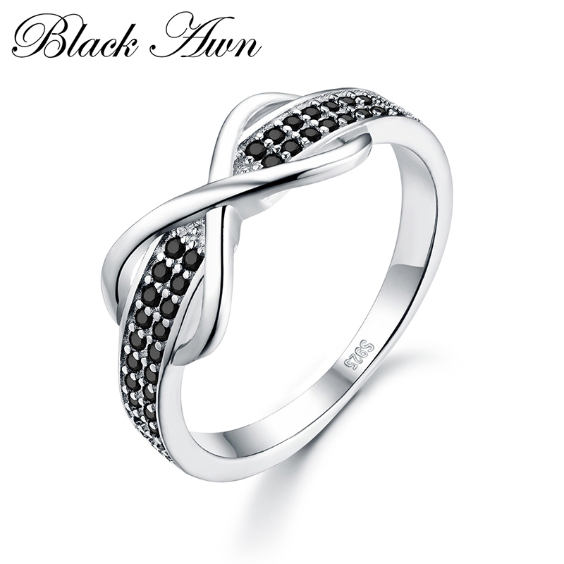 [BLACK AWN] 925 Sterling Silver Fine Jewelry Trendy Engagement Bague for Women Wedding Rings C090
